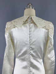Vintage 1940s Wedding Dress / SATIN STAR / Ivory Satin & Lace Bridal Gown Dress ThisBlueBird
