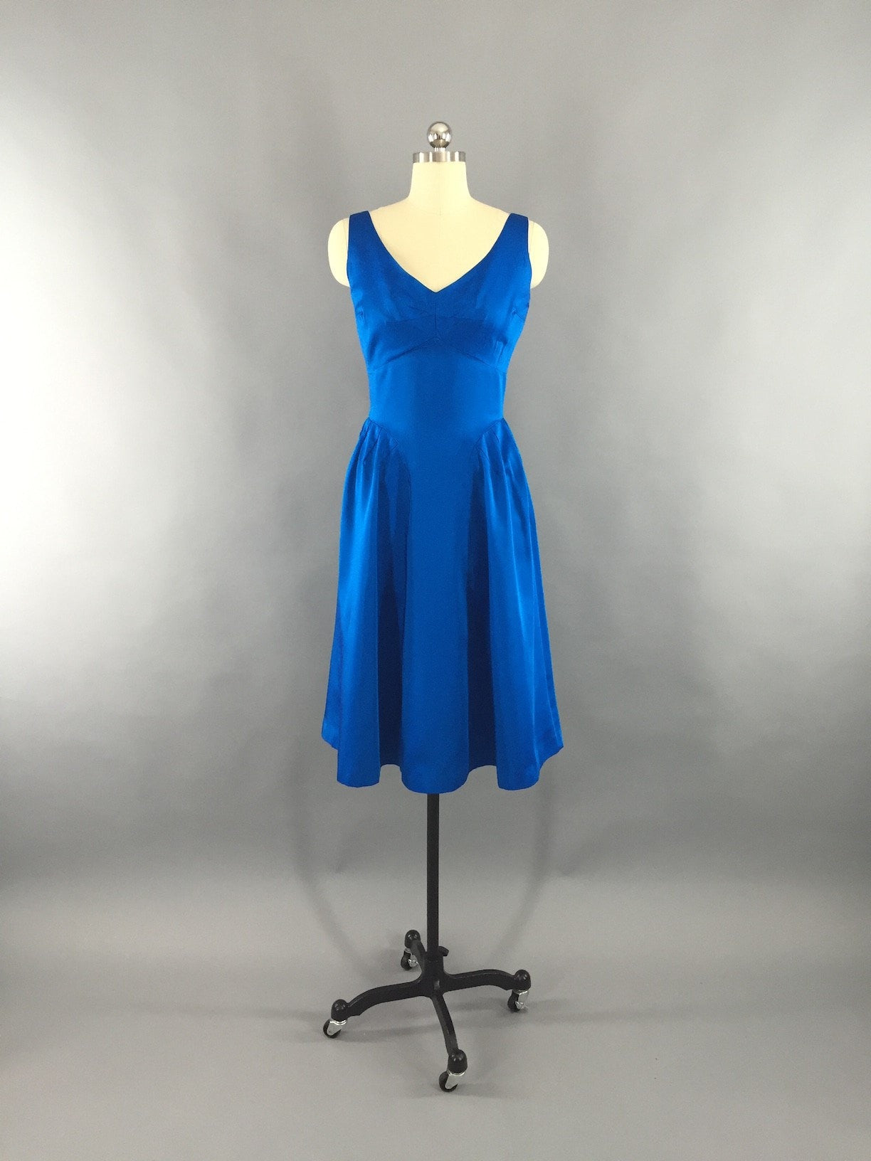 Vintage 1950s - 1960s Electric Blue Matte Satin Party Dress Dress ThisBlueBird