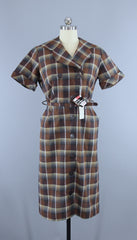 Vintage 1950s Ann Taylor Originals Day Dress / Brown Plaid Cotton / Deadstock with Tags Dress ThisBlueBird