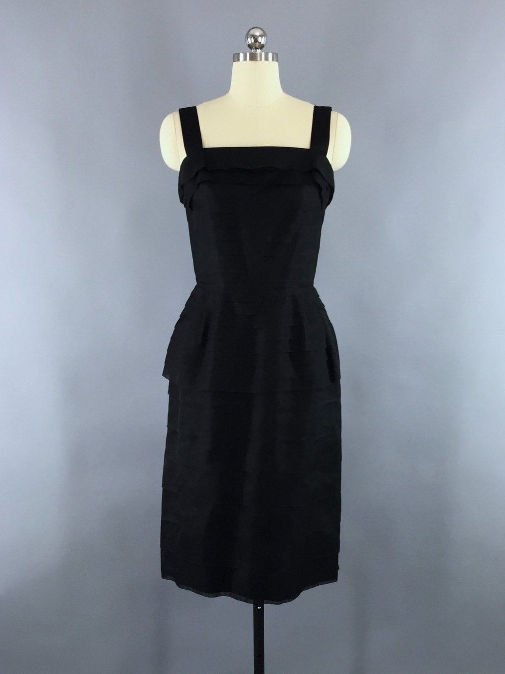 Vintage 1950s Black Organdy Cocktail Dress Dress ThisBlueBird