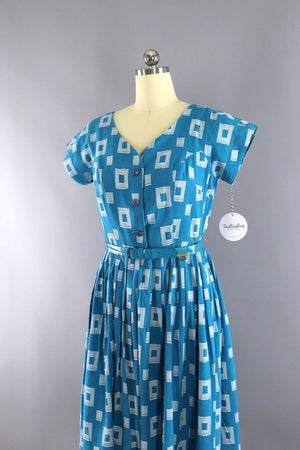 Vintage 1950s Blue Cotton Day Dress - ThisBlueBird