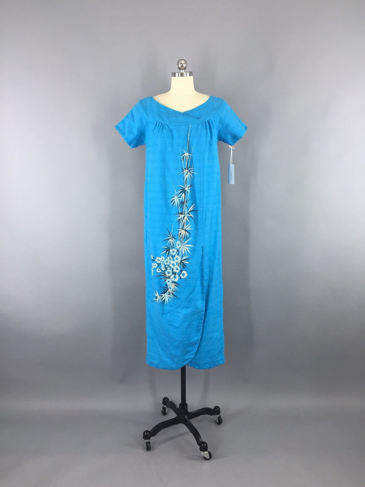 Vintage 1950s Blue Cotton Floral Hawaiian Maxi Dress Dress ThisBlueBird