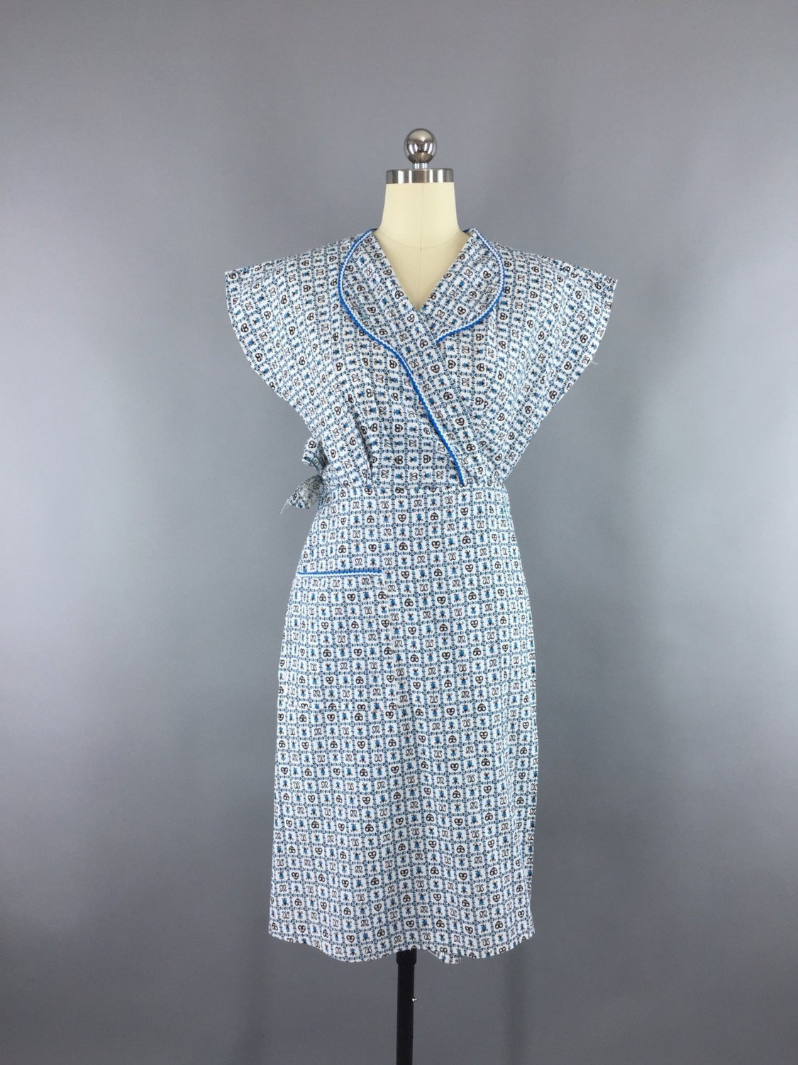 Vintage 1950s Blue Cotton Novelty Print Wrap Dress Dress ThisBlueBird