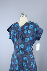 Vintage 1950s Blue Floral Print Day Dress Dress ThisBlueBird