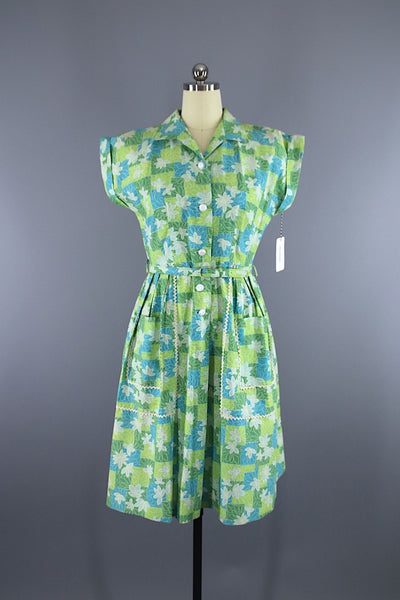 Vintage 1950s Brentwood JC Penney Day Dress / Blue Green Floral Print