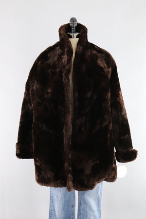 Vintage 1950s Brown Mouton Sheared Lamb Fur Coat-ThisBlueBird - Modern Vintage