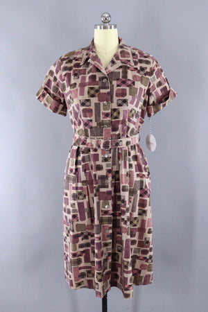 Vintage 1950s Cotton Day Dress / Pink and Tan Geometric Print-ThisBlueBird - Modern Vintage