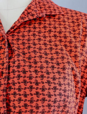Vintage 1950s Cotton Day Dress / Red Orange Paisley Print-ThisBlueBird - Modern Vintage