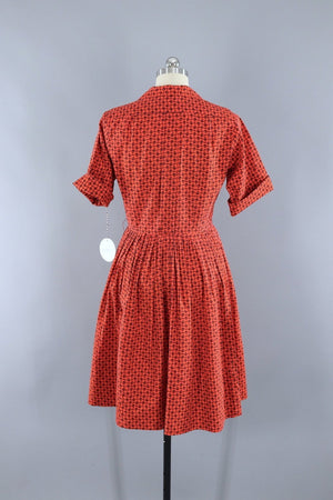 Vintage 1950s Cotton Day Dress / Red Orange Paisley Print - ThisBlueBird