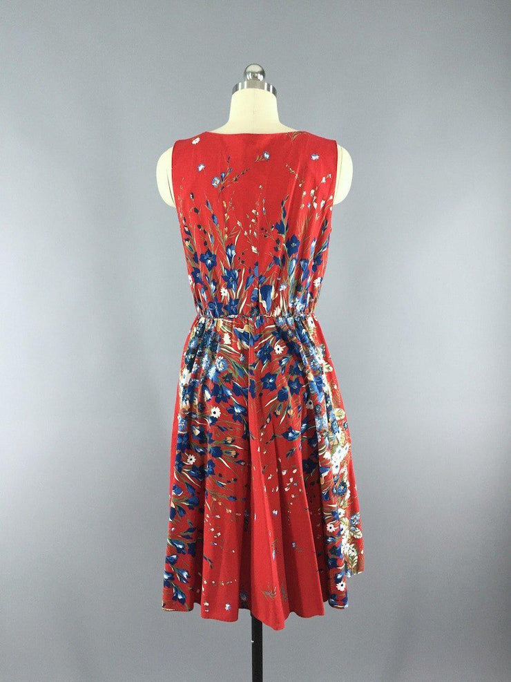 Vintage 1950s Cotton Sundress / Red Floral Print Dress ThisBlueBird