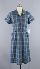 Vintage 1950s Dan River Day Dress / Blue Plaid Cotton Dress Dress ThisBlueBird