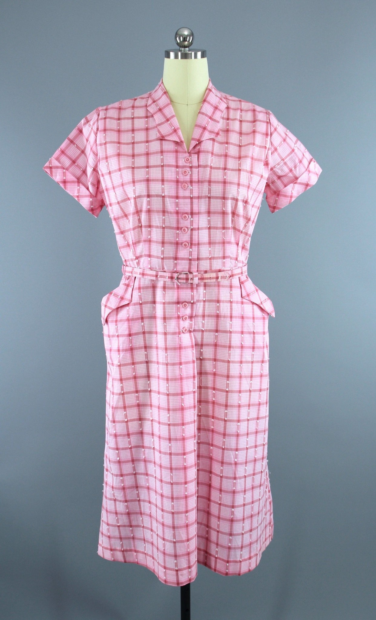 Vintage 1950s Dan River Day Dress / Pink & White Checkered Cotton Dress ThisBlueBird