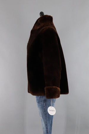 Vintage 1950s Dark Brown Mouton Lamb Sheared Fur Jacket - ThisBlueBird