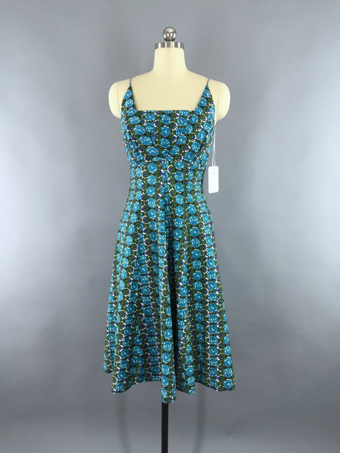 Vintage 1950s Day Dress / Blue Floral Print Sundress Dress ThisBlueBird