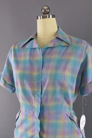 Vintage 1950s Day Dress / Pastel Plaid-ThisBlueBird - Modern Vintage