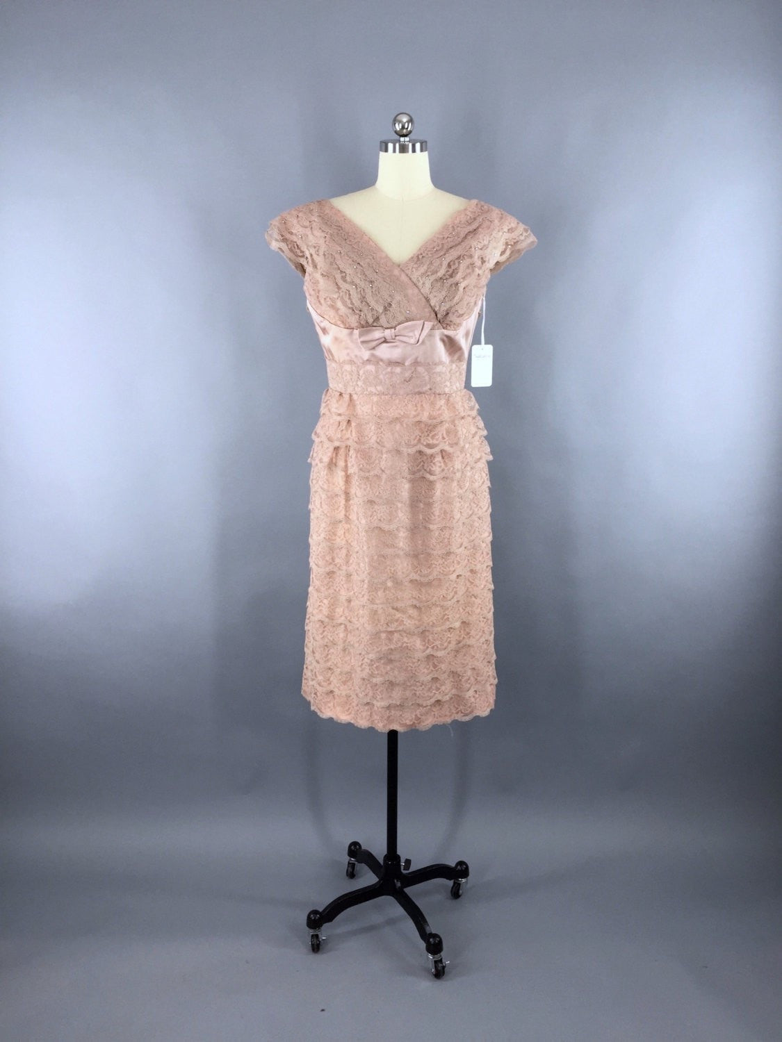 2d120ae77f Vintage 1950s Dress   Blush Lace Cocktail Dress   Original Tags Dress  ThisBlueBird