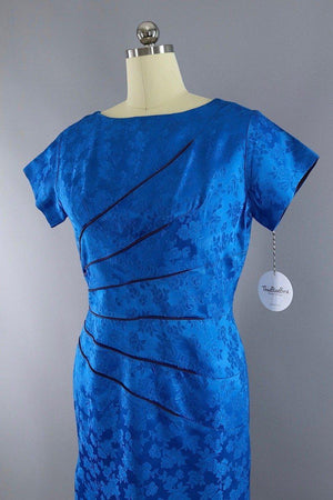 Vintage 1950s Electric Blue Floral Satin Dress - ThisBlueBird