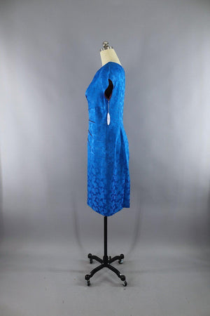 Vintage 1950s Electric Blue Floral Satin Dress-ThisBlueBird - Modern Vintage