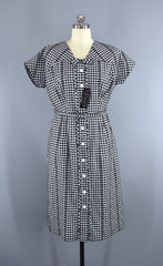Vintage 1950s Fashion First Day Dress / Black & White Gingham Cotton / Deadstock with Tags Dress ThisBlueBird