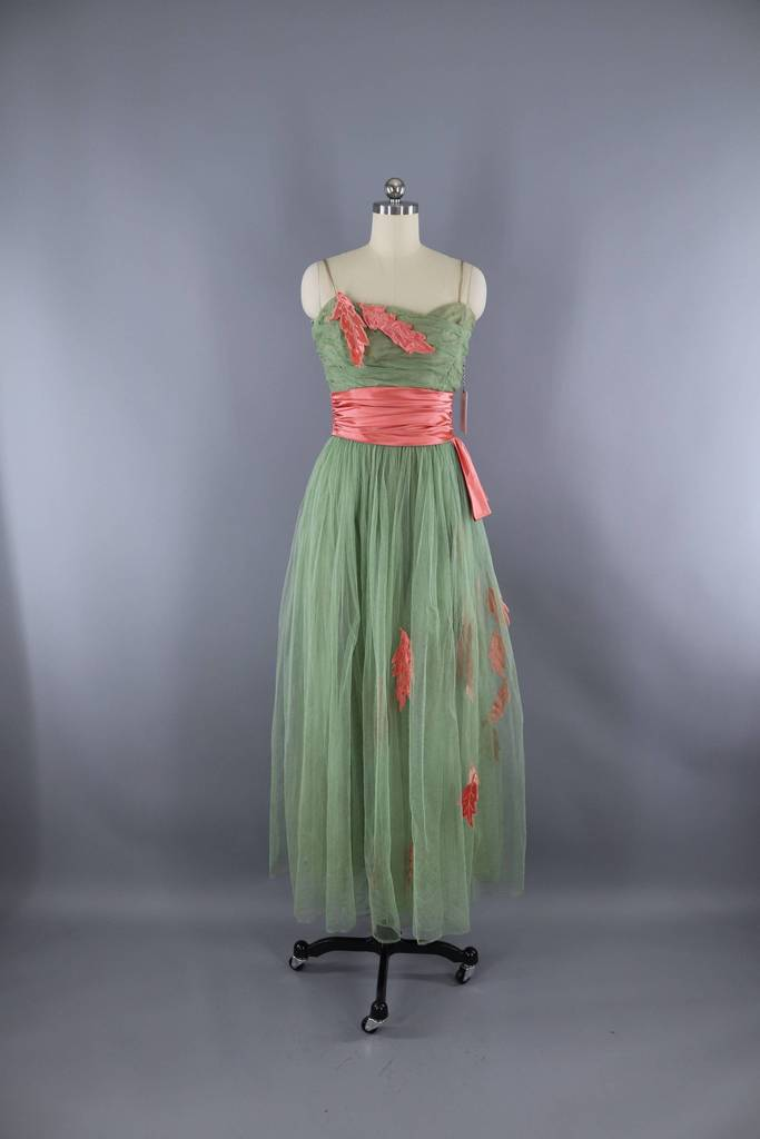 Vintage 1950s Formal Dress / Sage Green & Pink Satin Leaf Appliqué Dress ThisBlueBird