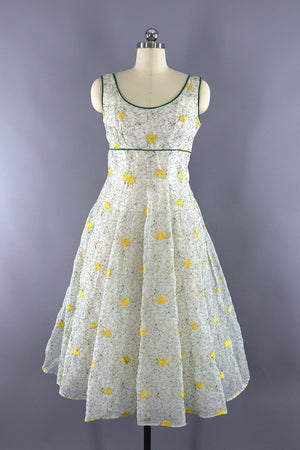 Vintage 1950s Garden Party Dress / White and Yellow Floral Embroidery-ThisBlueBird - Modern Vintage