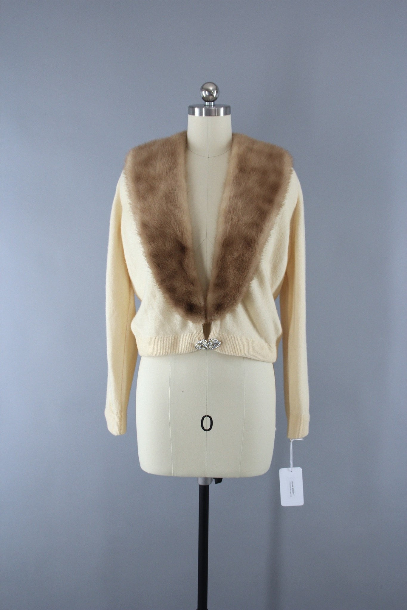 Vintage 1950s Ivory Cashmere Sweater with Fur Collar Tops ThisBlueBird