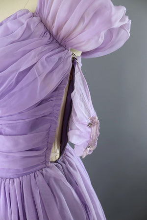Vintage 1950s Lavender Chiffon Party Dress - ThisBlueBird