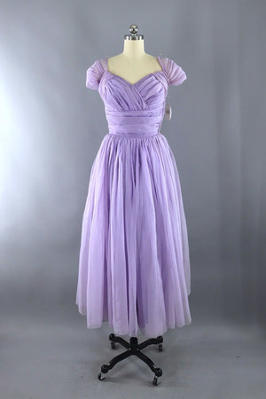 Vintage 1950s Lavender Chiffon Party Dress-ThisBlueBird - Modern Vintage