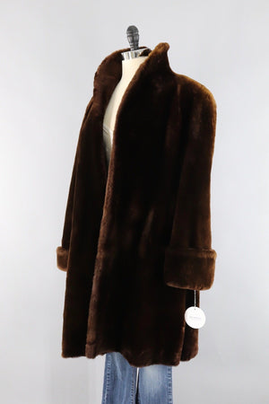 Vintage 1950s Long Brown Mouton Fur Swing Coat-ThisBlueBird - Modern Vintage