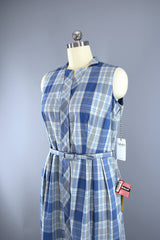 Vintage 1950s Mary Mac Day Dress / Blue & White Plaid Cotton / Deadstock with Tags Dress ThisBlueBird