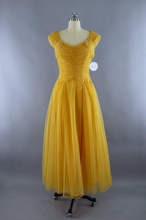 Vintage 1950s Mustard Yellow Gold Emma Domb Chiffon Party Dress-ThisBlueBird - Modern Vintage