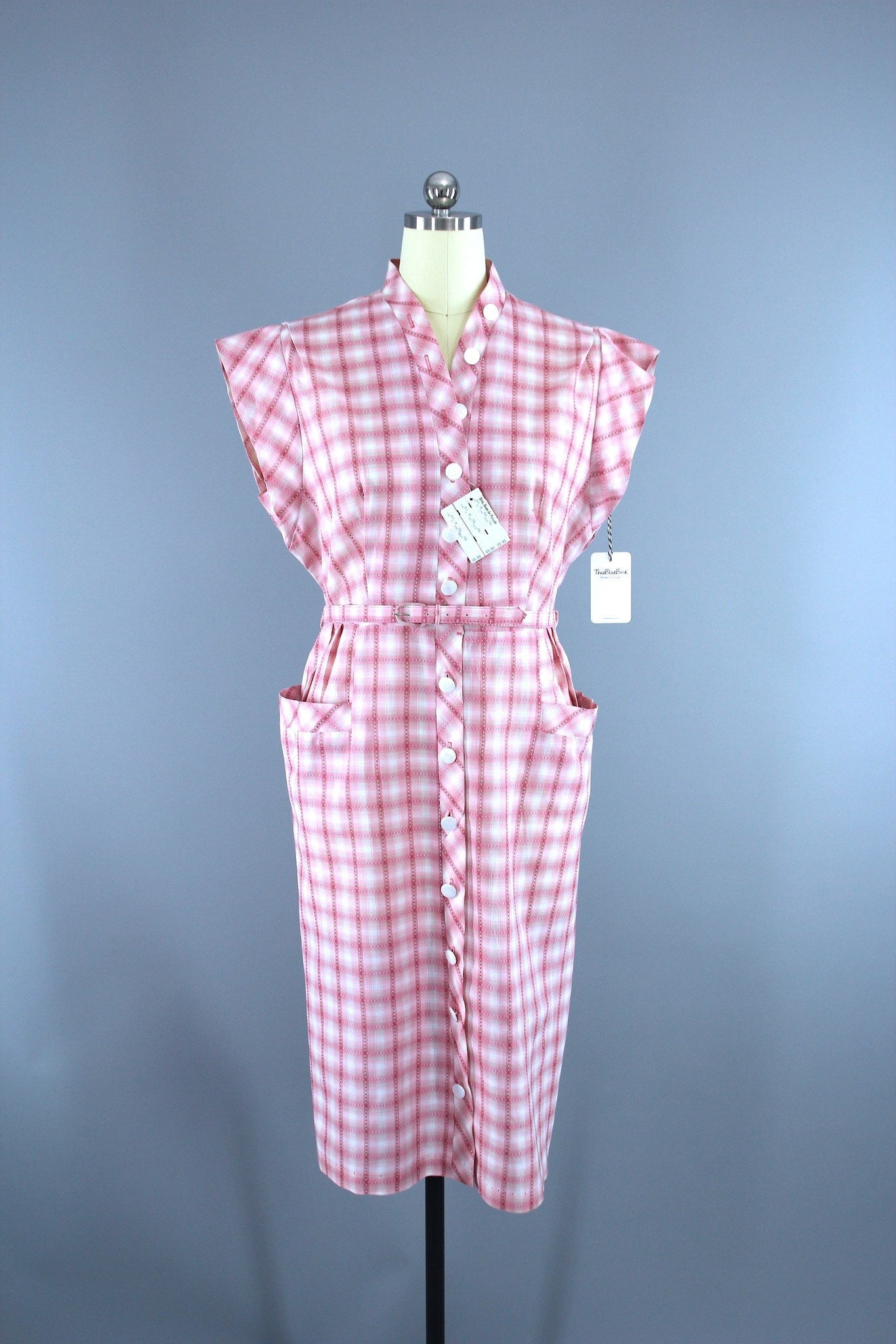 Vintage 1950s New Look Day Dress / Pink & White Checkerboard Plaid Cotton Dress ThisBlueBird
