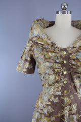 Vintage 1950s New Look Garden Party Dress in Brown & Blue Floral Print Dress ThisBlueBird