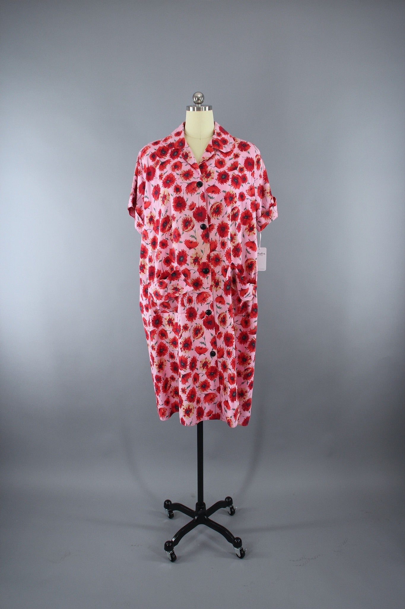 Vintage 1950s Nightgown   Maternity Dress in Pink   Red Poppies 33866b4bc