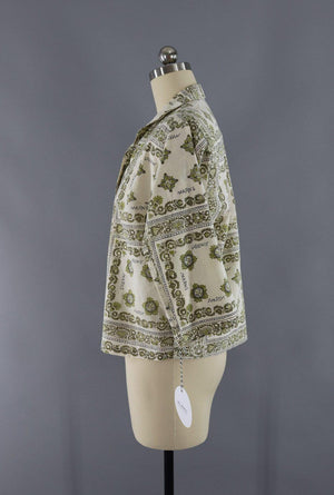 Vintage 1950s Novelty Print Blouse / Green Ivory Scarf Print-ThisBlueBird - Modern Vintage