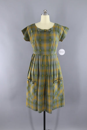 Vintage 1950s Olive Green and Mustard Yellow Plaid Dress - ThisBlueBird