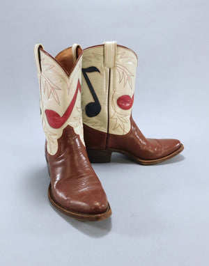 Vintage 1950s Olsen-Stelzer Boots / Musical Notes / Custom Made Special ThisBlueBird