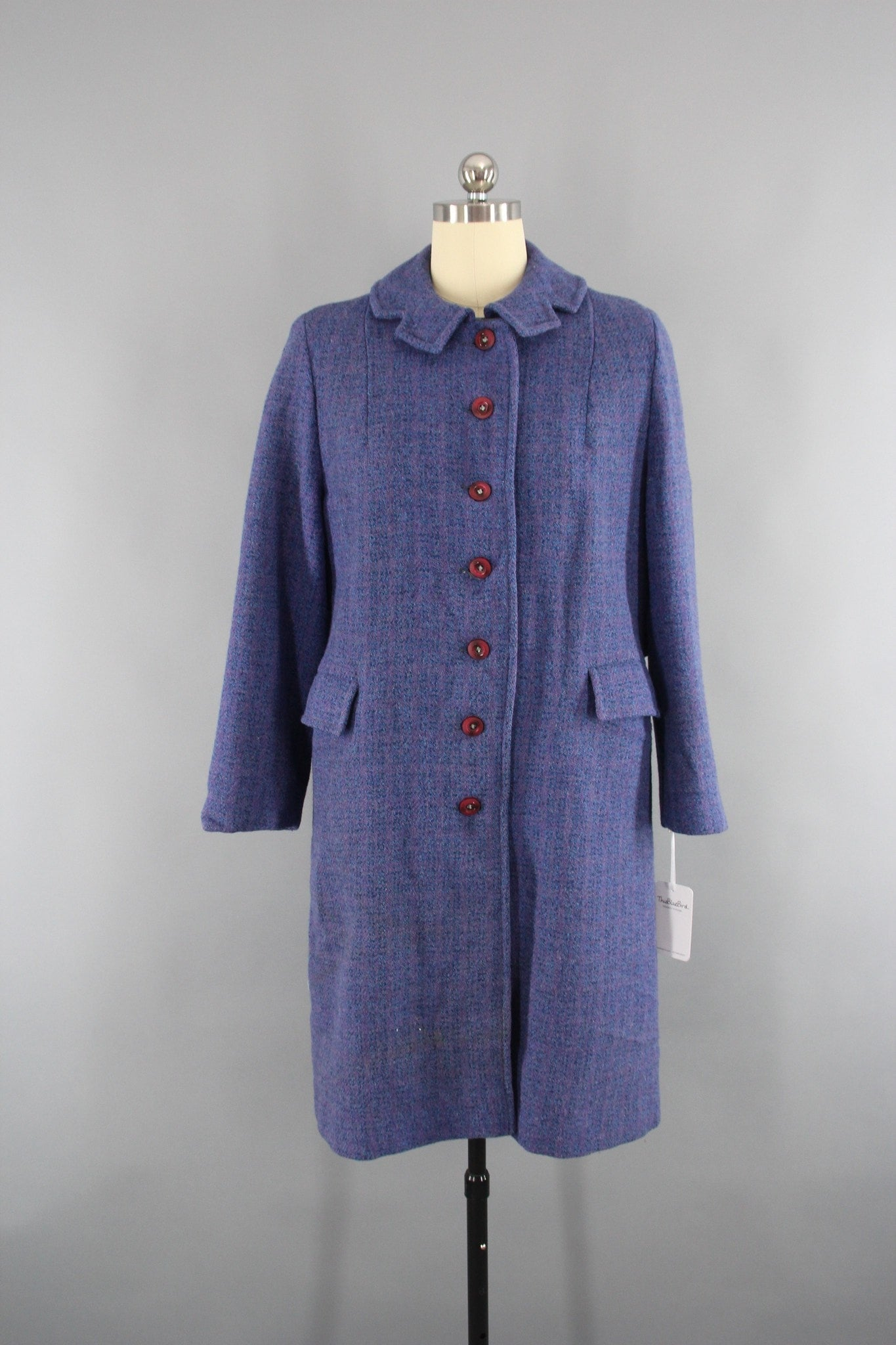 Vintage 1950s Periwinkle Blue Harris Tweed Wool Coat Outerwear ThisBlueBird