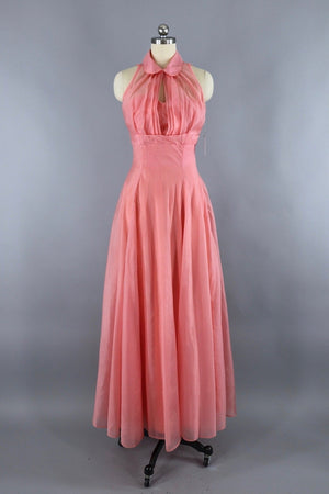 Vintage 1950s Pink Chiffon Dress Evening Gown with Cropped Jacket - ThisBlueBird