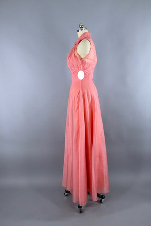 Vintage 1950s Pink Chiffon Dress Evening Gown with Cropped Jacket Dress ThisBlueBird