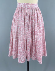 Vintage 1950s Pink Cotton Feed Sack Skirt Bottoms ThisBlueBird - Sale