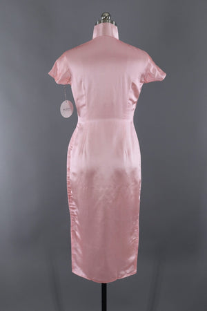 Vintage 1950s Pink Silk Satin Embroidered Qi Pao Mandarin Dress-ThisBlueBird - Modern Vintage