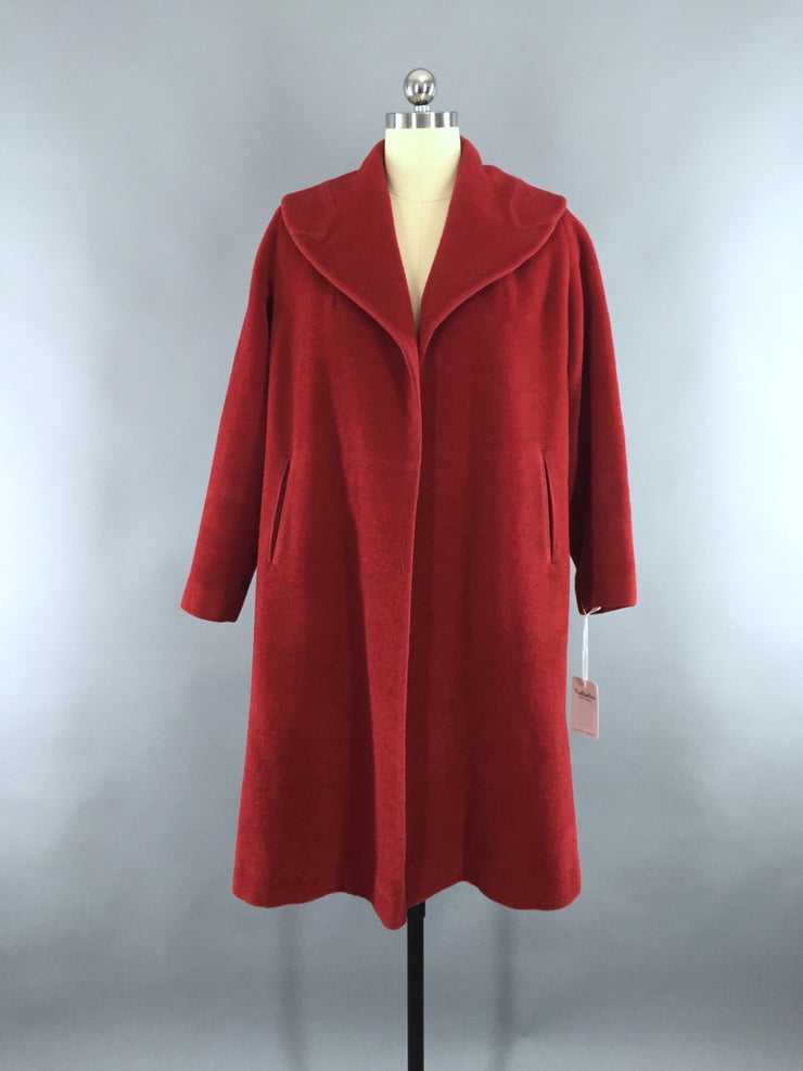 Vintage 1950s Red Charmosa Wool New Look Swing Coat Outerwear ThisBlueBird