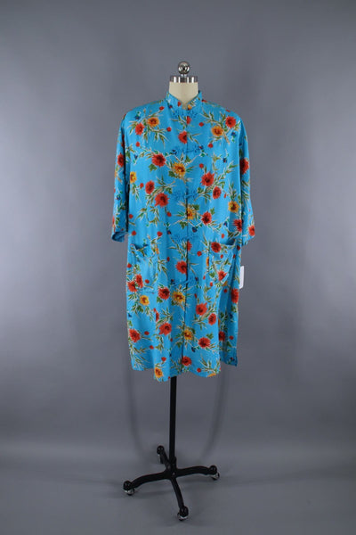Vintage 1950s Robe Housecoat / Asian Chinoiserie / Aqua Blue Floral Print