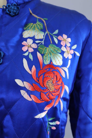 Vintage 1950s Royal Blue Satin Embroidered Jacket-ThisBlueBird - Modern Vintage