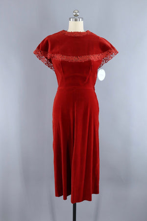 Vintage 1950s Rust Red Velvet & Lace Dress-ThisBlueBird - Modern Vintage