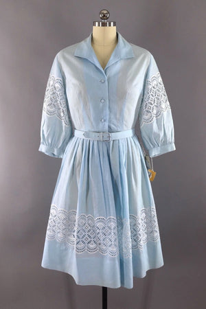 Vintage 1950s Sky Blue Cotton Lace Day Dress / Deadstock NOS Original Tags-ThisBlueBird - Modern Vintage