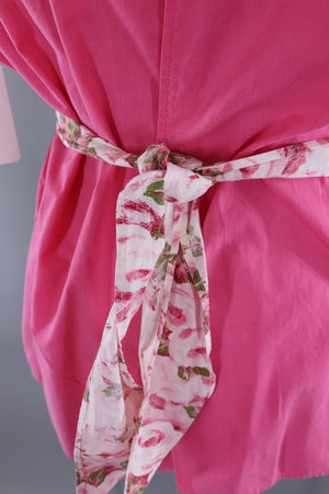 Vintage 1950s Smock Apron / Pink Roses Floral Print - ThisBlueBird