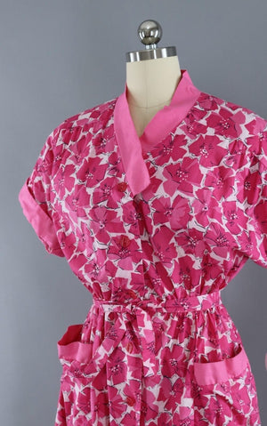 Vintage 1950s Style Pink Floral Cotton Day Dress-ThisBlueBird - Modern Vintage