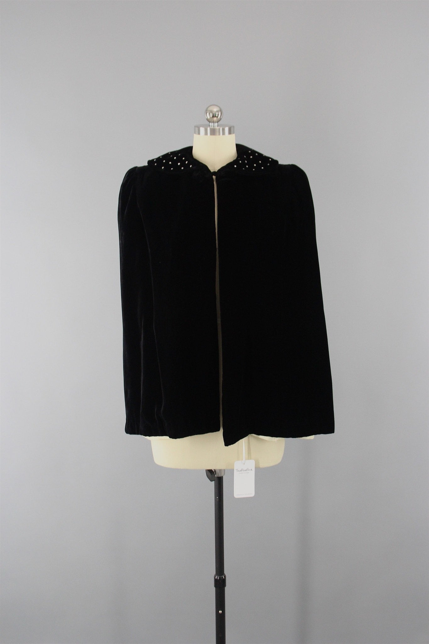 Vintage 1950s Velvet Cape / Opera Evening Coat with Rhinestones Outerwear ThisBlueBIrd